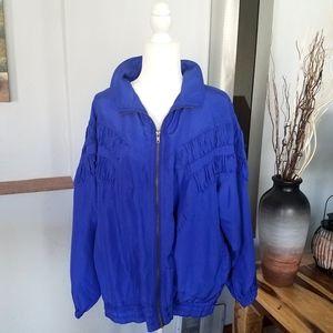 Vintage 1980s 100% silk bomber jacket blue sz XL